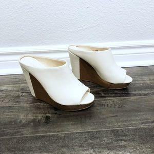 Beige & wooden wedges high heels